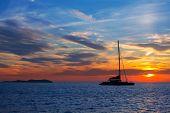 Ibiza san Antonio Abad de Portmany sunset in Balearic islands of spain