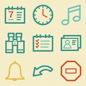 Organizer web icons, retro colors
