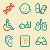 Medicine web icons, retro colors