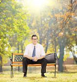 Relaxed young businessman sitting on a wooden bench and looking at camera in a park on a sunny day,