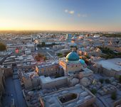 Top view of the city of Khiva at sunset. Blurred image with sharp center- tilt shift lens effect