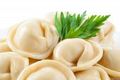Dumplings And Parsley - Russian Pelmeni - Italian Ravioli - Macro