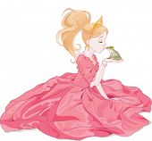 Fairytale Princess kissing a frog,  hoping for a prince.