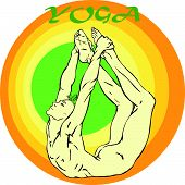 stock photo of ashtanga vinyasa yoga  - Hand drawn illustration about the handsome yogi playing asanas positions - JPG
