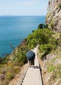 Two Men Hike The Mount At Tauranga In Nz
