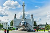 Vostok rocket and TU-134 plane. Moscow, Russia