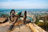 stock photo of cannon  - Civil war era cannon overlooking Chattanooga - JPG