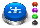 Water Polo Icons on Round Button Collection