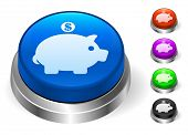 Piggy Bank Icons on Round Button Collection