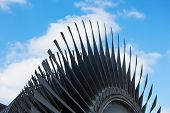 Steam Turbine Of Nuclear Power Plant Against The Sky