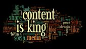 picture of recommendation  - Content is king concept in word tag cloud on black background - JPG