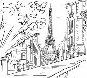 Street in paris - sketch  illustration