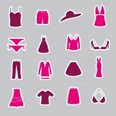 picture of womens panties  - womens clothing pink simple stickers set eps10 - JPG