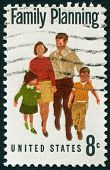 USA, CIRCA 1967: A stamp printed in USA, shows a symbol of family planning campaign, circa 1967