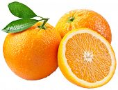 Oranges with slice and leaves isolated on a white background. Image with a maximum depth of field. Clipping path.