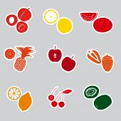 color fruits and half fruits stickers eps10
