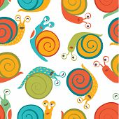 Seamless pattern with cute happy snails