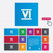 picture of roman numerals  - Roman numeral six sign icon - JPG