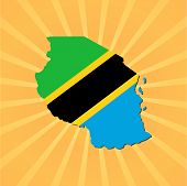 Tanzania map flag on sunburst illustration