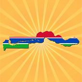 The Gambia map flag on sunburst illustration