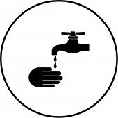 stock photo of spigot  - hand washing symbol - JPG
