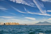 Mount Vesuvius And Castle From The Sea