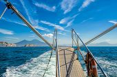 Boat Stern View On Gulf Of Naples