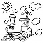 black and white cartoon of a train