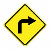 Turn Right Traffic Sign On White Background