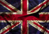 Illustration of a Union Jack flag with folds and creases and grunge effect