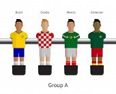Table football, soccer players. Group A - Brazil, Croatia, Mexico, Cameroon