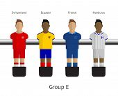 Table football, soccer players. Group E - Switzerland, Ecuador, France, Honduras
