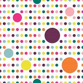Colorful flat repeat wall paper polka dot design. Warm girl color.