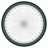 Mountain Bicycle Wheel On A White Background, Vector Illustration