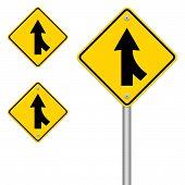 image of merge  - Road Merge Sign isolated on white background - JPG