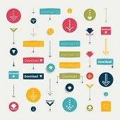 Set modern flat download buttons. Colorful shapes, arrows, pictogram. Vector illustration for infogr