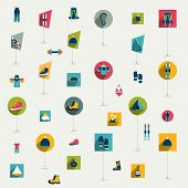 Winter sport and hiking flat icon collection. Vector colorful set.