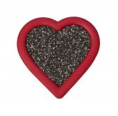 Red Chia Heart on White