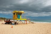 Lifeguard Tower On Big Beach Maui Hawaii