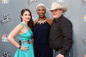 LOS ANGELES - APR 15:  Audra McLaughlin, Sisaundra Lewis, Jake Worthington at the NBC's