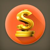Dollar sign and coins, long shadow vector icon