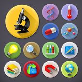 Science and education, long shadow icon set