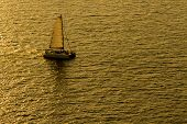 Sailing Yacht Boat On Golden Tropical Sea.