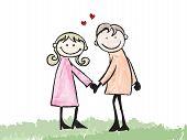 Happy Lover Dating Doodle Cartoon Illustration