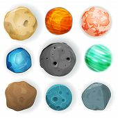 stock photo of sci-fi  - Illustration of a set of various planets moons asteroid and earth globes isolated on white for scifi backgrounds and space game ui - JPG