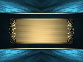Blue Background With A Blue Sign With Gold Trim. Design Template