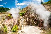 Geothermal eruption crater at Craters of the Moon Thermal Area in  New Zealand