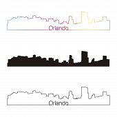 Orlando Skyline Linear Style With Rainbow