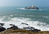 Godrevy lighthouse island St Ives Bay Cornwall England UK