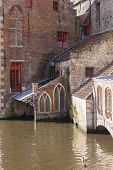Traditional Buildings And Waterway, Bruges, Belgium